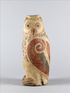 Painted Terra Cotta Owl  --  1st Century BCE  --  Late Western Han Dynasty  --  Musée Cernuschi, Paris