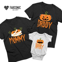 Halloween family shirts, Pumpkin Mommy Daddy Baby shirts, Pumpkin Shirt, Halloween pumpkin shirt, Fa Halloween Onesie, Baby First Halloween, Halloween 2020, Halloween Stuff, Dad To Be Shirts, Baby Shirts, Kids Shirts, Family Pjs, Family Outfits
