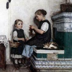 Meisjes breien Albert Anker Private Collection-katten in de kunst