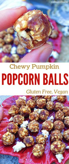 These chewy pumpkin popcorn bliss balls are gluten free, vegan and can easily be made refined sugar free. These healthy bliss balls are made with ingredients like dates, popcorn, banana, coconut flakes and coconut flour. Perfect for a gluten free breakfast, vegan snack or even a healthy dessert!    Find the full recipe here: http://caseythecollegeceliac.blogspot.com/2016/11/chewy-pumpkin-popcorn-balls-gluten-free.html