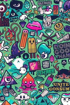 Art Work Pattern Illustration Graffiti Green #iPhone #4s #wallpaper