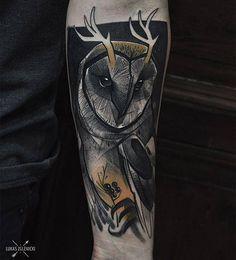 Sketch work style owl tattoo on Tattoo Artist: Łukas Zglenicki