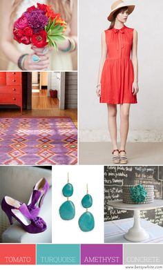 Tomato, Turquoise, Amethyst and Concrete