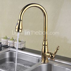 Deck Mounted Single Handle One Hole Brass with Ti-PVD Gold Kitchen Faucet Pullout Spray Sink Mixer Water Tap 2017 - $119.69