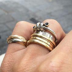 "Rings Details in White & Yellow Gold ... Cartier""Trinity""3 gold ring/ Bulgari B.Zero1 gold ring/ ..."