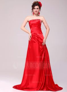 A-Line/Princess Strapless Sweep Train Taffeta Evening Dress With Ruffle Beading (017014005)