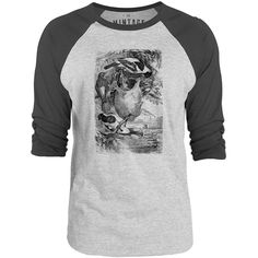 Mintage Weaver Birds 3/4-Sleeve Raglan Baseball T-Shirt (Grey Marle / Charcoal)