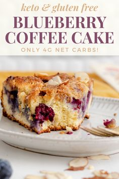 This gluten-free and keto coffee cake is bursting with blueberries and topped with a buttery sugar-free crumble! This gluten-free and keto coffee cake is bursting with blueberries and topped with a buttery sugar-free crumble! Gluten Free Blueberry, Blueberry Cake, Banana Recipes, Cake Recipes, Diet Recipes, Apple Coffee Cakes, Sour Cream Coffee Cake, Brunch, Hazelnut Cake