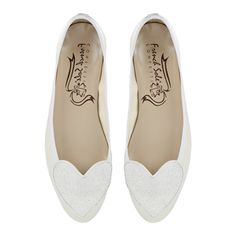 Dancing shoes!! Love Heart Ivory Satin and Glitter (LH29) 42 | Love Heart | Ballet Flats