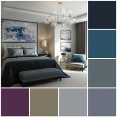 Colour Palette Inspiration with Hue Blues and a Pop of Aubergine. House Color Schemes, Bedroom Color Schemes, Interior House Colors, Decor Interior Design, Aubergine Bedroom, Best Bedroom Colors, Design Apartment, Kitchen Room Design, Mid Century Modern Design