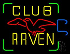 Club Raven Neon Sign 24 Tall x 31 Wide x 3 Deep, is 100% Handcrafted with Real Glass Tube Neon Sign. !!! Made in USA !!!  Colors on the sign are Green, Yellow, Red and Blue. Club Raven Neon Sign is high impact, eye catching, real glass tube neon sign. This characteristic glow can attract customers like nothing else, virtually burning your identity into the minds of potential and future customers. Club Raven Neon Sign can be left on 24 hours a day, seven days a week, 365 days a year...