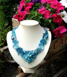 Blue freeform necklace Blue jewelry Gift for women