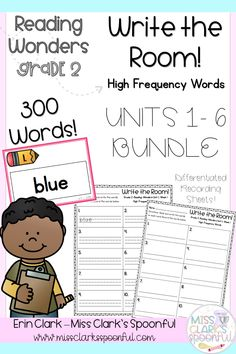 This BUNDLE includes ALL 6 UNITS of high frequency words included in Second Grade Reading Wonders. Included is an engaging write the room activity, with differentiated recording sheets. Teaching Writing, Writing Activities, Listening Activities, Teaching Ideas, Reading Resources, Teacher Resources, Classroom Resources, Reading Wonders, Teaching Secondary