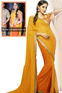 Dabangg 2 Shaded Orange Chiffon Embroidered Wedding Saree Fabric - Chiffon Color - Orange More details  Reference : VLR4127 http://valehri.com/sarees/94-dabangg-2-shaded-orange-chiffon-embroidered-wedding-saree.html