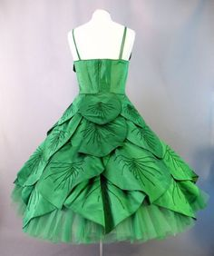totally posion ivy dress.  SOLD Vintage 50s MAXWELL SHIEFF Emerald Petals Silk Full Skirt Dress Medium bust 38 at Couture Allure Vintage Clothing