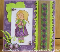 Stampscrapandsmile.blogspot.nl MD| Snoesje | borduren| groen en paars/ green and purple