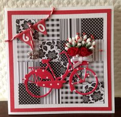 Rood fietsje Birthday Cards For Women, Handmade Birthday Cards, Greeting Cards Handmade, 3d Cards, Paper Cards, Stampin Up Cards, Bicycle Cards, Embossed Cards, Marianne Design