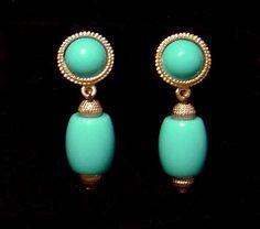 Vintage TRIFARI faux turquoise Dangle Earrings  #trifari #clipback