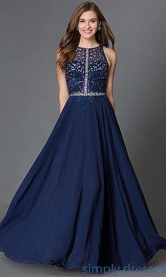 Dresses, Formal, Prom Dresses, Evening Wear: Illusion Top Racerback Floor Length Dress