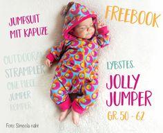 Endlich mal wieder ein Freebook!!! Das letzte - das Hoody Freebook in Gr. 62 - kam im Dezmeber online, also wurde es mal wieder höchste Zeit! Und ich bleibe dabei: alle Lybstes Schnitte wird es in der kleinsten Größe for free geben. Und da der Jolly Jumper in den Größen 50-122 letzte Woche rauskam, gibt es die Newborngröße und die 56/62 nun umsonst für euch! Mit Schnitt, Anleitung und gaaanz viel Inspiration! Ein Baby-Overall mit Kapuze, in dem die Kleinen - dank des schrägen Reißverschl...