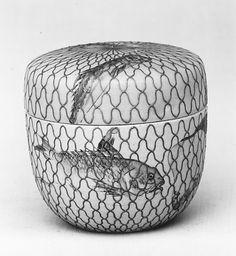Tea Caddy (Natsume) Edo period (1615–1868) Pottery covered with glaze, painted designs (Izumo ware, Fujina type)