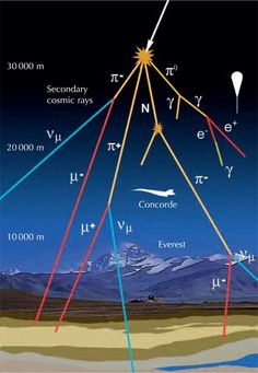 Cosmic ray air shower. The primary cosmic ray is a high-energy particle that collides with a molecule in the upper atmosphere. The collision produces subatomic particles which further collide with air molecules, producing a cascade of secondary rays. (Image credit: Alberto Izquierdo; courtesy of Francisco Barradas Solas, Science in School)