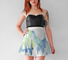 Watercolor Skirt short flared skirt printed skirt abstract watercolor running dripping color blue yellow green skirt by Emily Magone