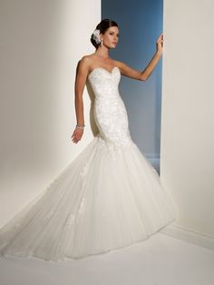 Sophia Tolli - Y11215 – Marielena - Tulle wedding dress with corset back, delicate yet dramatic, misty tulle and lace Marielena captivates and excites. Colors: Alabaster Ivory/Pewter, Diamond White/Pewter, Ivory/Pewter, White/Pewter