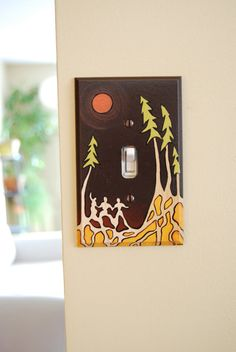 Forest Gathering Original Art Hand Painted Single Toggle Wood Light Switch Plate