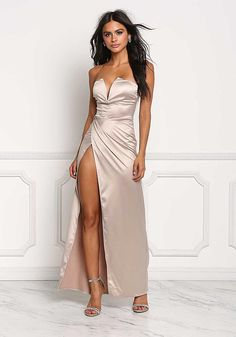 Champagne Silky Plunge High Slit Maxi Gown - Midi and Maxi - Dresses