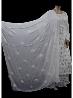ISHIEQA's White Pure Georgette Chikankari Dupatta - MV1107E Ethnic Suit, Black B, Embroidery Suits, Anarkali Dress, White Chiffon, Thread Work, White Fabrics, Sarees Online, Indian Dresses