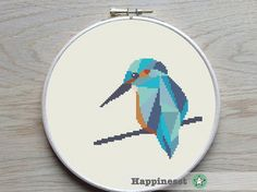 cross stitch pattern kingfisher geometric kingfisher por Happinesst