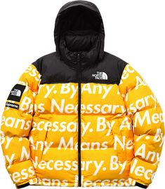 SUPREME X THE NORTH FACE BY ANY MEANS NECESSARY YELLOW PARKA JACKET  $ 225