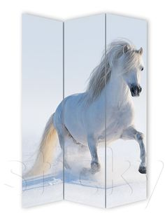 Folding Screen White horse by Sticky! Panel Divider, Room Divider Screen, Room Screen, Folding Screens, Horses And Dogs, White Horses, Dogs Of The World, Dividers
