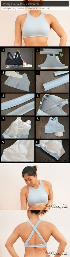 Diy ideas para reciclar tu ropa diy lined and padded bralet or sports bra diy fashion Diy Clothing, Sewing Clothes, Clothing Patterns, Golf Clothing, Shirt Patterns, Barbie Clothes, Dress Patterns, Clothing Stores, Bra Pattern