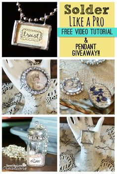 Learn to Solder Like a pro, and create gorgeous, vintage soldered pendants in no time in this awesome detailed video tutorial @savedbyloves.  Hurry and enter to win your choice out of three pendant created by Hope Ellington.
