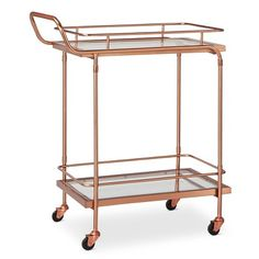 Metal, Wood, and Leather Bar Cart - Rose Gold - Threshold™ : Target