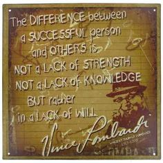 Vince Lombardi Quote Metal Sign