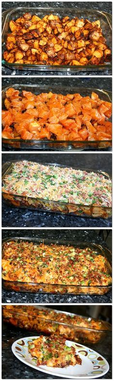 Loaded Potato & Buffalo Chicken Casserole. •2 lbs boneless, skinless chicken breasts, cut into 1/2-inch cubes  •8-10 medium potatoes, cut into 1/2-inch cubes  (I leave the skin on)  •1/3 cup olive oil   •1 1/2 tsp. salt  •1 TBS. freshly ground pepper  •1 TBS. paprika   •2 TBS. garlic powder   •6 TBS. hot sauce   Topping:  •2 c. Fiesta Blend Cheese or a mix of Cheddar & Monterey Jack  •1 c. crumbled bacon   •1 c diced green onion