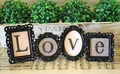 Framed Love Letters, could be cute with letters in a name. On a shelf above your bed.