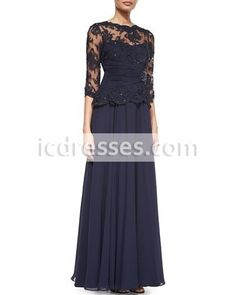 Mother Of The Bride Dresses A-line Half Sleeves Navy Blue Chiffon Lace Long Mother Dresses Evening Dresses For Weddings 2016