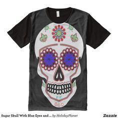 Sugar Skull With Blue Eyes and Green Fleur de Lis