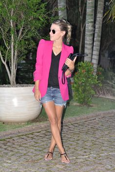 pink blaker with denim shorts. simple and cute.
