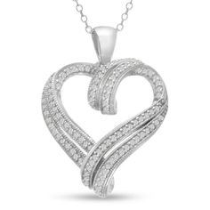 Contemporary 1/2 Carat Diamond Heart Necklace, 18 Inches - http://fashion.designerjewelrygalleria.com/pendants/diamond-pendants/contemporary-12-carat-diamond-heart-necklace-18-inches/
