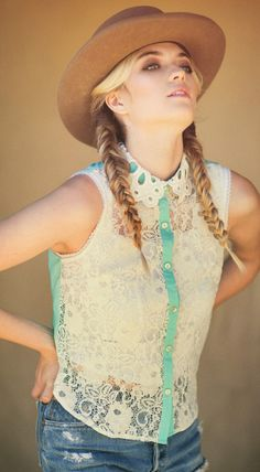 Flying Tomato Women's Sleeveless Boho Lace Shirt w/ fish tail braid