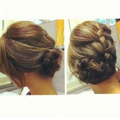 French braid with a side bun. From a simple everyday style to a sleek formal up-do. <3