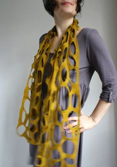 Merino Scarf in Seaweed Yellow Green by Red2White $115.00