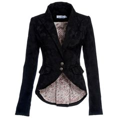 Black brocade fitted jacket by kat von d ❤ liked on Polyvore featuring outerwear, jackets, brocade jacket, kat von d and fitted jacket