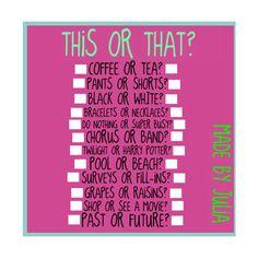 this or that surveyy made by »spɑʀкʟʏɢʟɪττɛʀ*...♥ ❤ liked on Polyvore