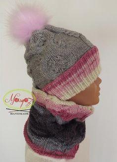 Margo77 __Girls Hat Cowl grey-pink